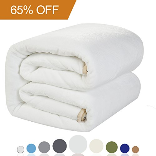 Balichun Luxury 330 GSM Fleece Blanket Super Soft Warm Fuzzy Lightweight Bed or Couch Blanket Twin/Queen/King Size (Queen (90-Inch-by-90-Inch), White)