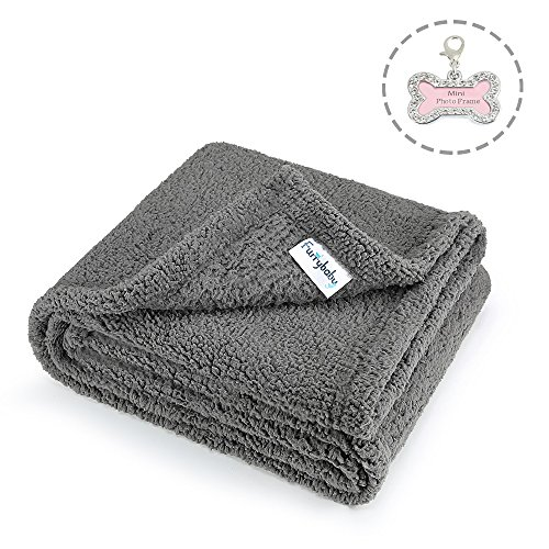 "FURRYBABY Premium Fluffy Fleece Dog Blanket, Soft and Warm Pet Throw for Dogs & Cats Grey (Medium (32×40""))"