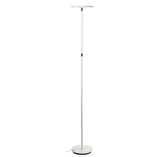 Brightech SKY LED Torchiere Floor Lamp – Energy Saving, Dimmable Adjustable Lamp, Reading Lamp– Modern Tall Standing Pole Uplight Lamp Light for Living Room, Dorm, Bedroom, and Office –Alpine White