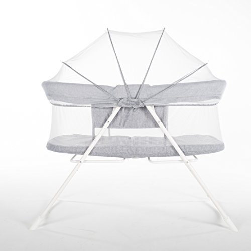LUCKUP Foldable Portable Baby Crib, Travel Infant Bassinet Bed (36″L × 22″W, Grey)