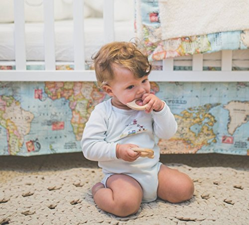 Baby Bedding Set – 2 piece set of Baby Blanket and Crib Skirt with world map fabric. Welcome to the World Little One! Perfect for an Adventure or Travel theme baby shower or Nursery.