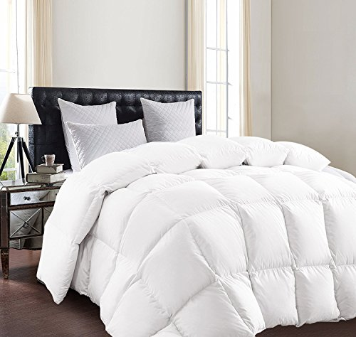 SUNTQ Luxurious Goose Down Comforter Size King Lightweight Duvet All Seasons Solid White Hypo-allergenic 800 Thread Count 750+ Fill Power 100% Cotton Shell Down Proof (King)