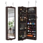 LANGRIA Full-Length Lockable Wall-Mounted Over-the-Door Hanging Jewelry Cabinet Armoire with LED Lights 3 Adjustable Heights Classy Accessories Organizer with 2 Drawers and Carved Design (Brown)