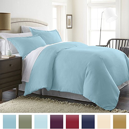 Beckham Hotel Collection Luxury Soft Brushed 1800 Series Microfiber Duvet Cover Set – Hypoallergenic – Full/Queen, Sky Blue