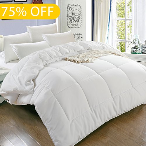 Balichun Luxury Hotel Collection 1800 Series – Down Alternative Comforter Hypoallergenic Quilted Duvet Insert With Corner Tabs – All Season – King(90 by 102 inches) – White