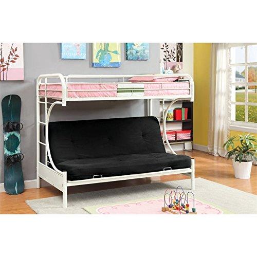 Furniture of America Metal Twin Over Futon Bunk Bed, Twin, White