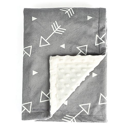 Boritar Baby Blanket Super Soft Minky With Double Layer Dotted Backing, Little Grey Arrows Printed 30″x40″