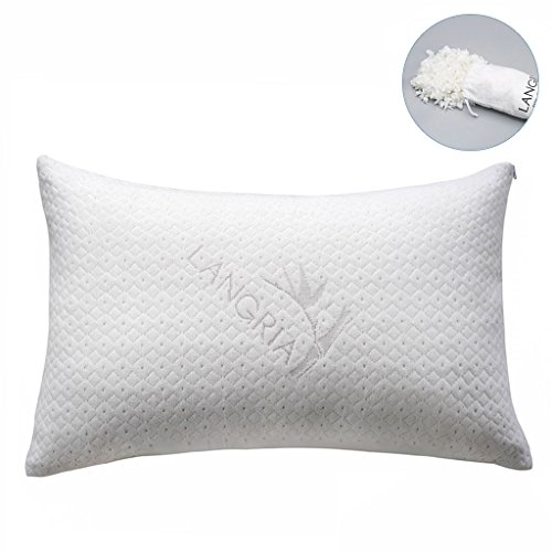 LANGRIA Luxury Bamboo Shredded Memory Foam Pillow with Zip Cover and Adjustable Viscoelastic Foam Filling Breathable Anti-Sweat Hypoallergenic and Odor-Free Machine Washable (Queen, 1 Piece)