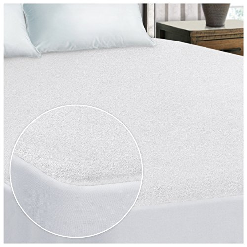 Superior California King Size Premium 100% Waterproof Mattress Protector Pad – 100% Cotton Terry Surface, Hypoallergenic, Deep Pocket Skirt Fits Up to 22″ Mattress, 15-Year Warranty