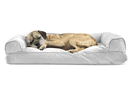 Furhaven Pet Quilted Pillow Sofa Pet Bed, Silver Gray, Medium