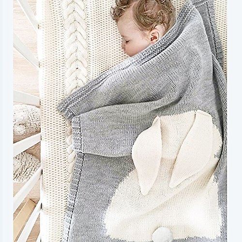Baby Knitted Cotton Blanket, 30″x40″ Cuddle Sheet for Newborn /Infant /Kids, Thick /Soft /Cozy, Double Layer, Breathable, Felt Bunny Ears (Grey &White)