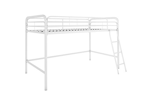 DHP Junior Loft Bed Frame With Ladder, Multifunctional Space-Saving Design, White