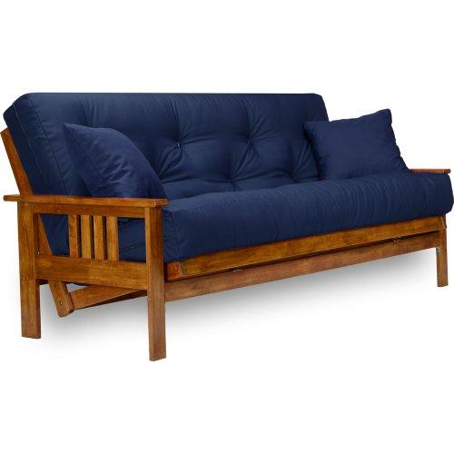 Stanford Futon Set – Queen Size, Frame, 8″ Mattress, Twill Navy Blue Cover