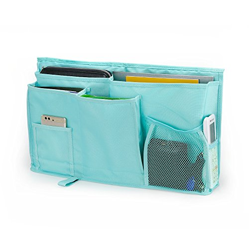 WeiBonD Caddy Hanging Organizer – Large Capacity 8 Pockets Bedside Storage Bag with Velcro Strap for Placed on Headboard, Bed Rails, Dorms, Bunk Bed and Hospital Bed (Green)