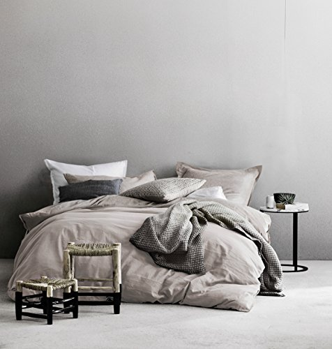 Washed Cotton Chambray Duvet Cover Solid Color Casual Modern Style Bedding Set Relaxed Soft Feel Natural Wrinkled Look (King, Barely Mauve)