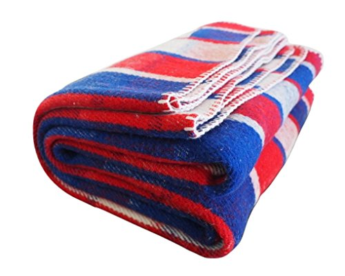 LIMITED EDITION Woolly Mammoth Woolen Company Farmhouse Collection FREEDOM Wool Blanket (Red/White/Blue Plaid)
