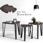 Coffee Table Set of 3 End Side Table Night Stand Nesting Corner Table Stacking Tea Table Brown Modern Leisure Wood Table With Metal Tube For Living Room Waiting Room Balcony and Office