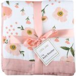 """Muslin Toddler Blanket 4 Layers – """"Floral Print"""" Bamboo Cotton Everything Blanket – Oversized 47″ x 47″ – Muslin Stroller Blanket for Baby Girl (Floral)"""