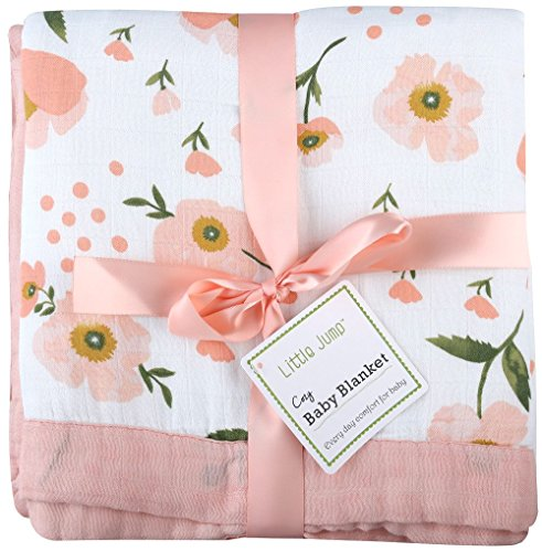 "Muslin Toddler Blanket 4 Layers – ""Floral Print"" Bamboo Cotton Everything Blanket – Oversized 47″ x 47″ – Muslin Stroller Blanket for Baby Girl (Floral)"