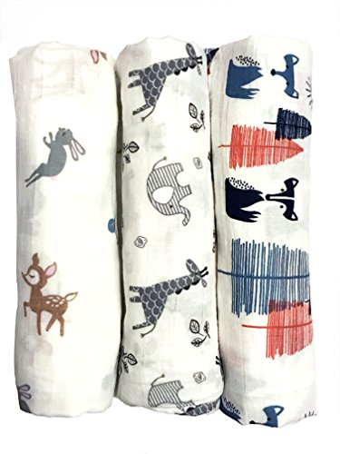 "Cotton Muslin Swaddle Blankets, Set of 3, ""My First Furry Friends"" Perfect Christmas Holiday Gift"