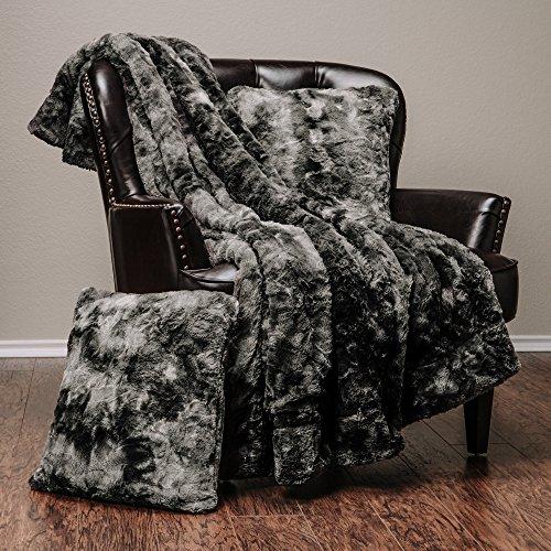 Chanasya Super Soft Fuzzy Faux Fur Cozy Warm Fluffy Plush Sherpa Dark Gray Fur Microfiber Bed Throw Blanket (50″ x 65″) & 2 pillow Covers ( 18″x18″) Set