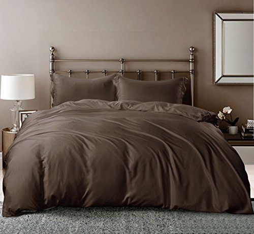 Hotel Quality Silky Soft 100% Bamboo-Derived Rayon Duvet Cover Set 3 Pieces (1 Duvet Cover, 2 Pillow Shams) Hypoallergenic Breathable Comforter Case Quilt Cover, Solid Bedding Mocha King