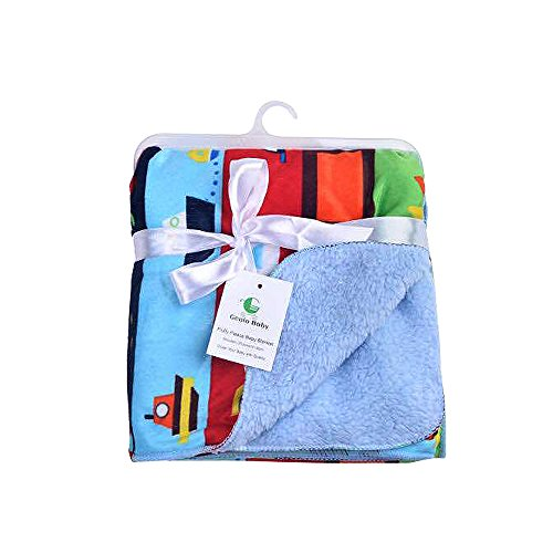 Genio Baby Sherpa Fleece Baby Blanket Unisex 30 x 40 Soft- Perfect For Swaddling and Strolling- Fluffy For Boys and Girls By (Baby Blue)