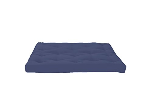 Artiva USA Home Deluxe 8″ Futon Sofa Mattress with Inner Spring Made in US Best Quality for Long-Lasting Use, Solid, Full, Navy Blue