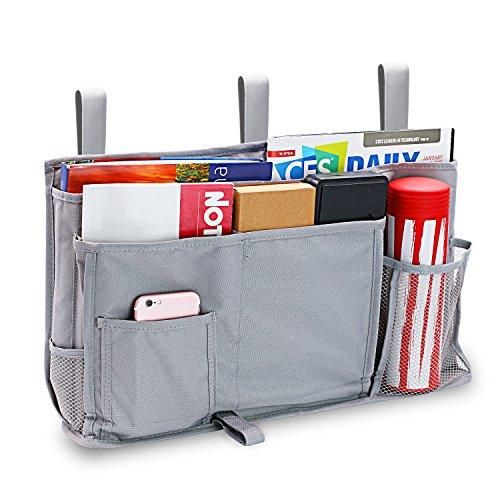 Startostar 8 Pocket Bedside Storage Bag Caddy Hanging Organizer Improved Strap Design with Bigger Loading Capacity – Best for Headboards, Bed Rails, Dorm Rooms,Bunk Beds, Hospital Beds(Gray)