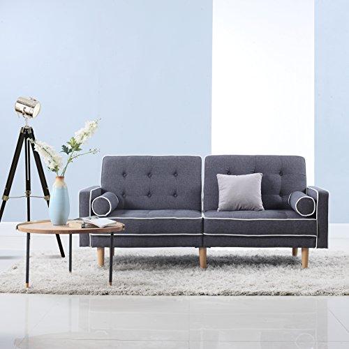 Mid Century Modern Two Tone Splitback Tufted Linen Fabric Futon (Dark Grey)