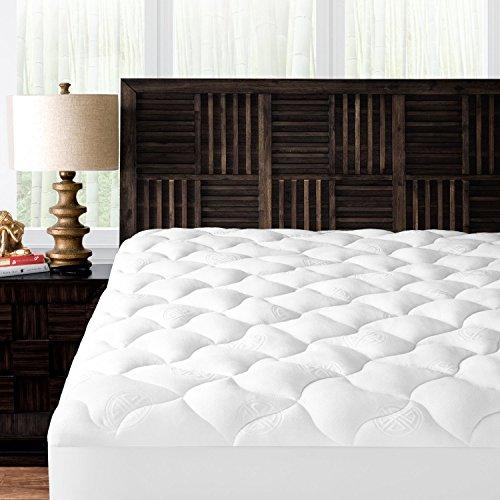 Mandarin Home Collection Ultra Soft Rayon Derived from Bamboo Plush Mattress Topper – Premium Hypoallergenic Mattress Pad – Twin