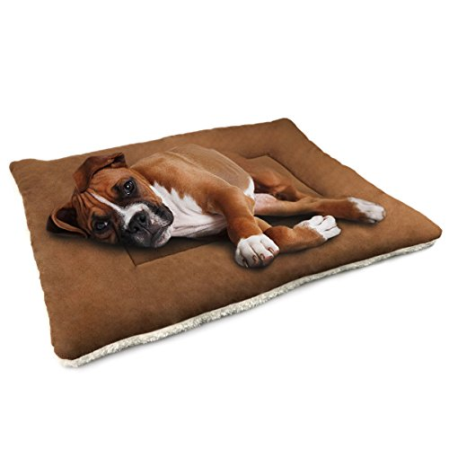 Dogjog Pet Bed for Dogs & Cats Kennel Mat and Crate Mattress Washable Mat Comfortable Pad for Pet (Large, Brown)