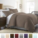 Beckham Hotel Collection Luxury Soft Brushed 1800 Series Microfiber Duvet Cover Set – Hypoallergenic – Full/Queen, Tan Taupe
