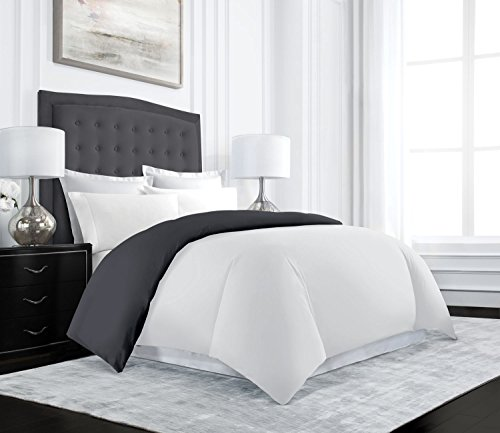 Uptown Hotel Collection Luxury Reversible Duvet Cover Set – Luxurious Soft-Brushed Microfiber, Hypoallergenic and Stain Resistant – Full/Queen – Gray/White