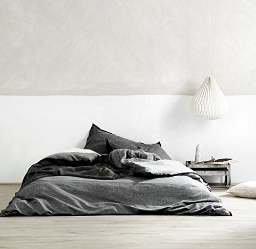 Washed Cotton Chambray Duvet Cover Solid Color Casual Modern Style Bedding Set Relaxed Soft Feel Natural Wrinkled Look (Queen, Dark Grey)