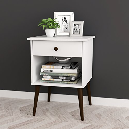 White / Espresso Nightstand Side End Table Open Storage with Drawer 24″H