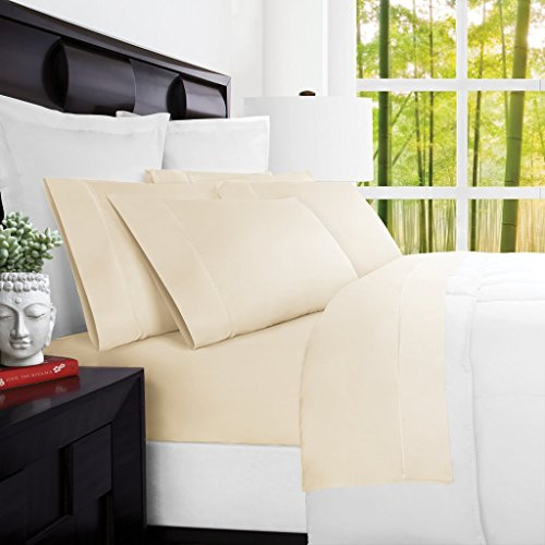 Mandarin Home Luxury 100 Percent Rayon Derived From Bamboo Bed Sheets – Eco-friendly, Hypoallergenic and Wrinkle Resistant – 4-Piece – (Cal King, Cream)