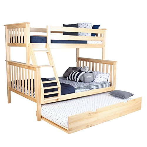 Max & Lily Solid Wood Twin over Full Bunk Bed with Trundle Bed, Natural