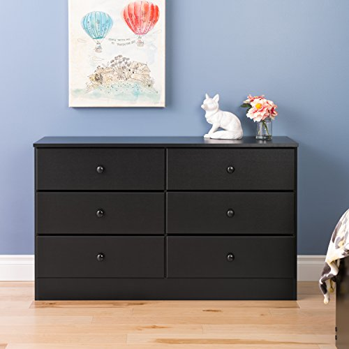 Prepac Astrid 6 Drawer Dresser, Black
