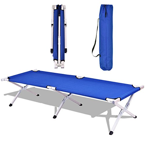 Goplus Heavy Duty Foldable Camping Cot Portable Military Bed Hiking Travel W/ carrying Bag (Blue)