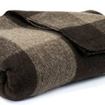 Bunkhouse Plaid Wool Blankets #NW-WBASBHP 80 x 62 Inches Twin Size – Machine Washable Brown/Tan Fawn