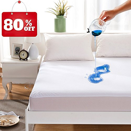 Maevis Bed Waterproof Mattress Protector Cover Pad Fitted 18 Inches Deep Pocket Premium Washable Vinyl Free – Queen