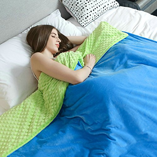 """Removable Minky Dot Duvet Cover for Weighted Blanket by Weighted Idea – Green/Blue (60""""x80"""")"""