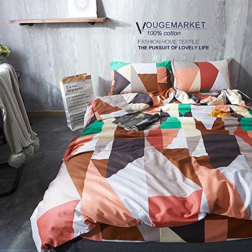 Vougemarket Soft 100% Cotton 3-pieces Reversible Geometric Pattern Duvet Cover Set with Zipper Closure and Corner Ties-King,Helsinki