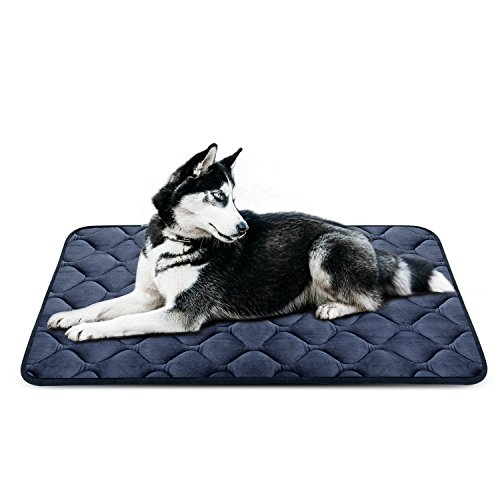 Dog Bed Mat Crate Kennel Orthopedic Pad Car Seat Cover Mattress Cushion Sleeping Soft Durable Resistant Fleece Anti-slip House Floor Beds Large Grey by HeroDog