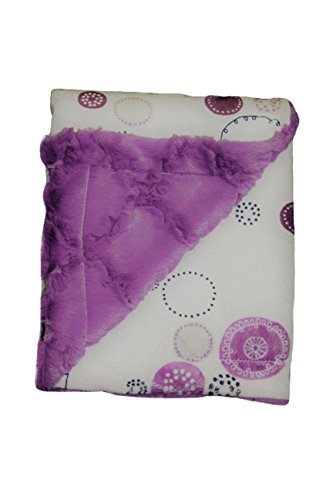 """Posh Designs Ultra Soft Baby Receiving Blanket – Luscious, Luxurious and Cuddly Minky Reversible Blankie – Purple Nursery Circles – 30"""" x 36"""" – by"""