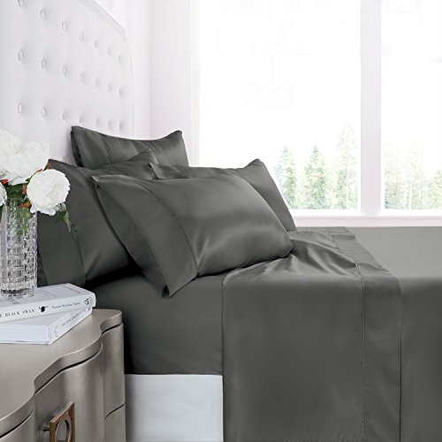 Egyptian Luxury 1200 Series Silky Soft Satin 4-Piece Bed Sheet Set – Ultra Smooth Satin Microfiber – Wrinkle and Fade Resistant, Hypoallergenic Sheet and Pillow Case Set –Queen – Gray