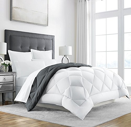 Sleep Restoration Goose Down Alternative Comforter – Reversible – All Season Hotel Quality Luxury Hypoallergenic Comforter -King/Cal King – Grey/White