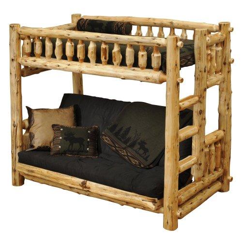 Fireside Lodge Furniture Cedar Hand Crafted Spindle Log Single Bunkbed With 8″ Inner Spring Futon Mattress, Single, Left Ladder, Traditional Cedar
