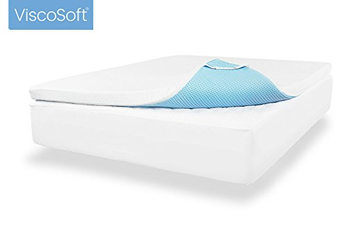 ViscoSoft 3.5 lbs. Density 3-Inch Gel Memory Foam Mattress Topper (Cal King) – Includes Ultra Soft Removable Cover with Adjustable Straps